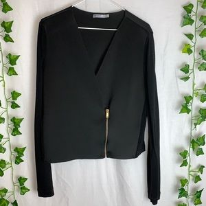 ZARA Sheer Sleeves Blazer with Front Zipper